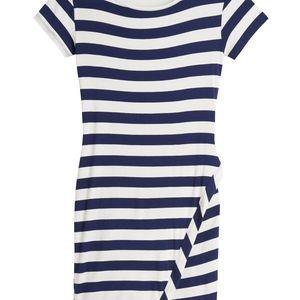 Navy Blue & White Striped Knit Dress, XS